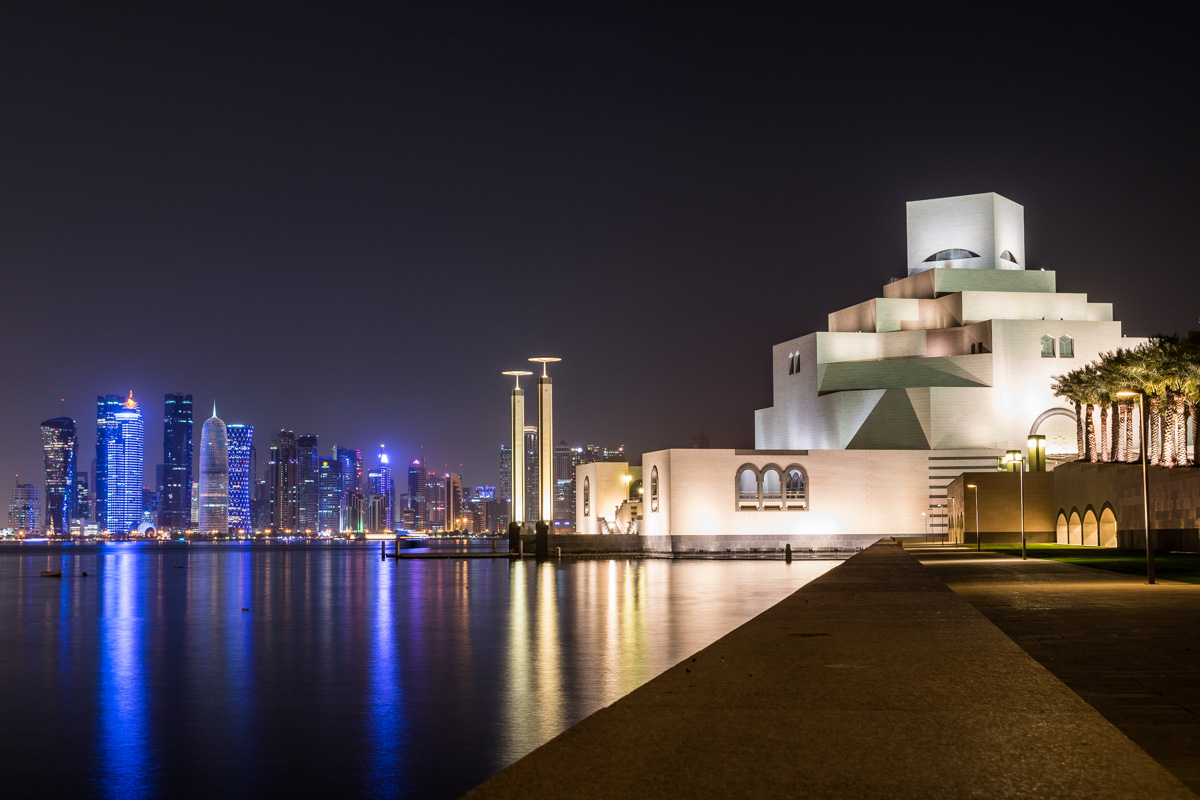 Doha skyline at night